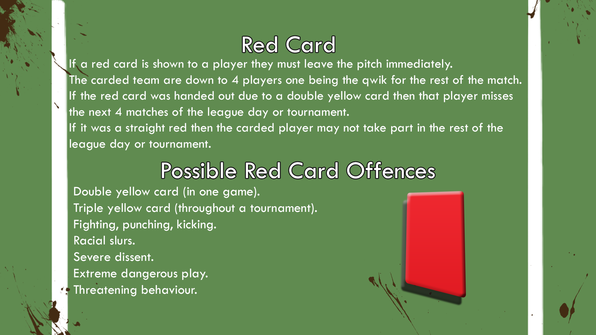 Red Card Breakdown