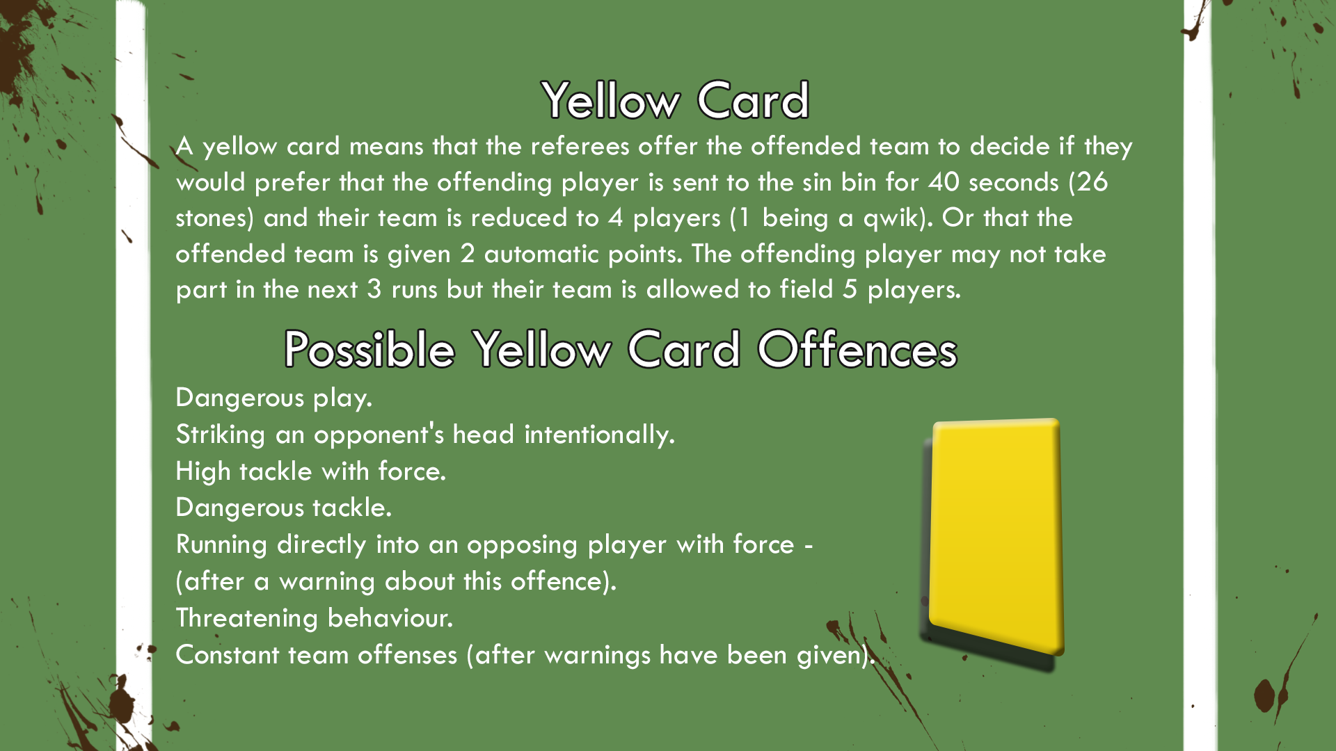 Yellow Card Breakdown